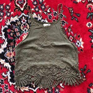 LA Hearts Olive Green Crochet Crop Tank